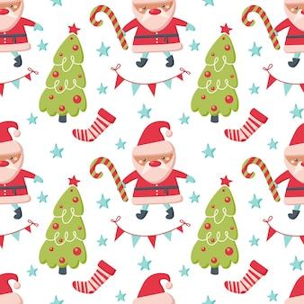サンタクロース、木、白い背景で隔離の靴下とクリスマスのシームレスなパターン。ベクトルフラットイラスト。背景、ラッピング、壁紙、テキスタイル、パッケージングのデザイン