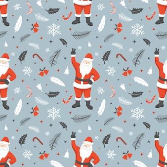 サンタクロースとクリスマスのシームレスなパターン