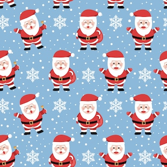 Christmas seamless pattern with santa on cool background