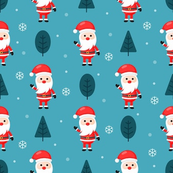 Christmas seamless pattern with santa isolated on blue background.