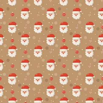 Christmas seamless pattern with santa isolated on cream background
