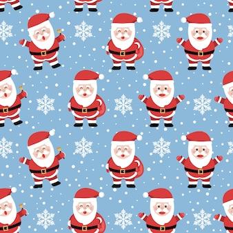 クールな背景にサンタとクリスマスのシームレスなパターン