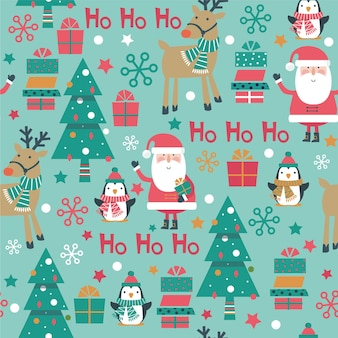 Christmas seamless pattern with santa, penguin. box, tree, reindeer on blue background.