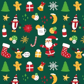 Christmas seamless pattern with santa, penguin, deer, balloons, snowflakes, candle. premium vector