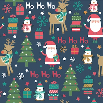 Christmas seamless pattern with santa, penguin, tree, reindeer, snowflakes, box.