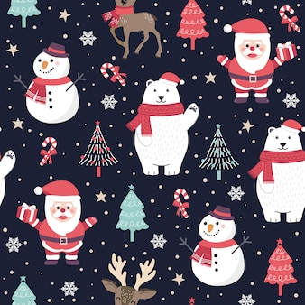 Christmas seamless pattern with santa and polar bear