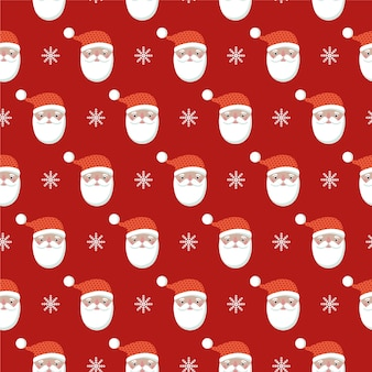 Christmas seamless pattern with santa's  heads.