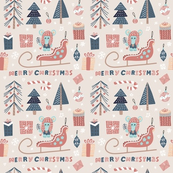 Christmas seamless pattern with santa's sledge, mouse, xmas tree