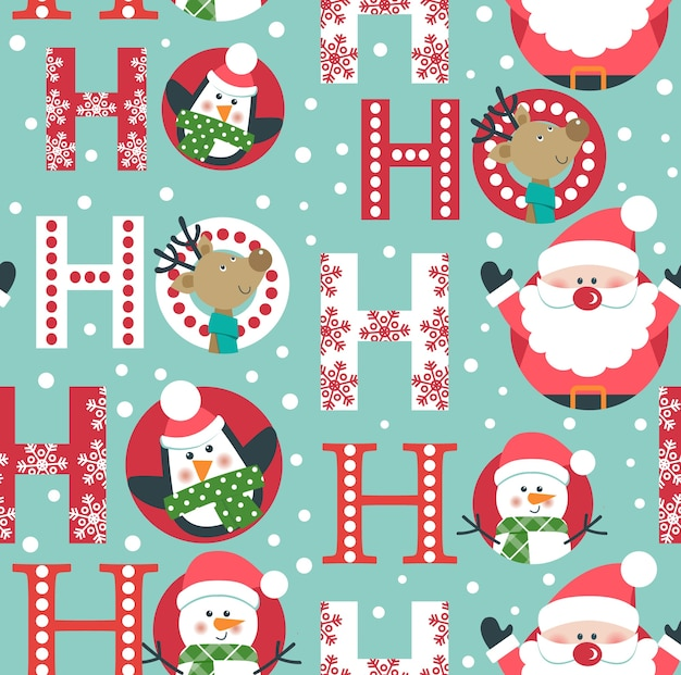Christmas seamless pattern with santa