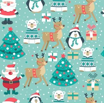 Christmas seamless pattern with Santa.