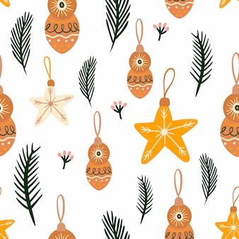 계절 요소와 크리스마스 원활한 패턴