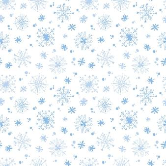 雪片とクリスマスのシームレスなパターン休日のデジタルペーパー