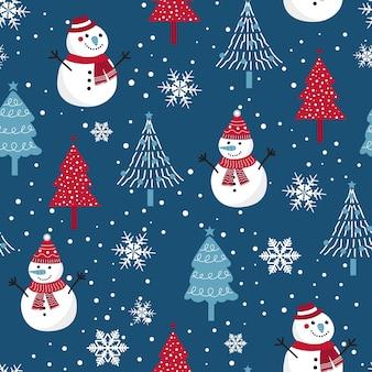 雪だるまの背景を持つクリスマスのシームレスなパターン