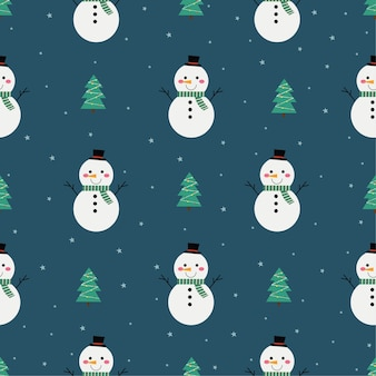 Christmas seamless pattern with snowman isolated on blue background