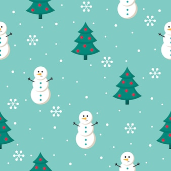 Christmas seamless pattern with snowman isolated on blue background.