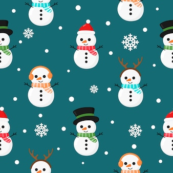 Christmas seamless pattern with snowman isolated on blue