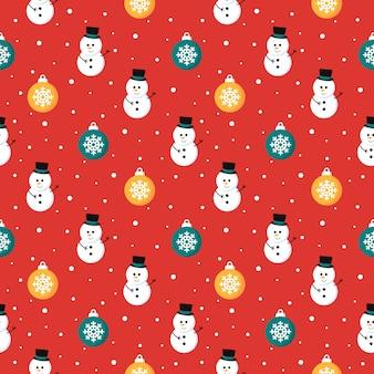 Новогодний бесшовный фон со снеговиком на красном фоне