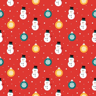 Christmas seamless pattern with snowman isolated on red background