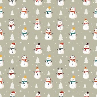 Рождественский фон со снеговиком зимой на сером фоне