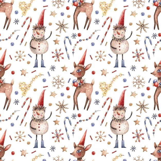 Christmas seamless pattern with snowmen, candies, deer and garlands.
