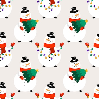 Christmas seamless pattern with snowmen. flat vector background with snowmen in cartoon style.