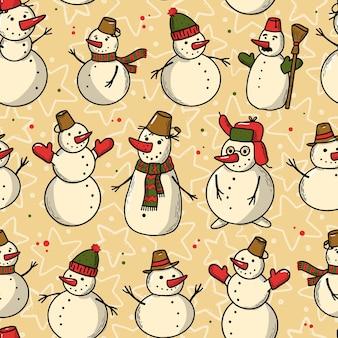 雪だるまとのクリスマスのシームレスなパターン