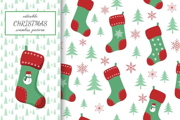 Рождество бесшовные модели с носками в мультяшном стиле
