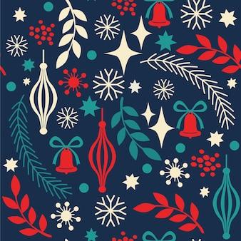 Рождественский фон с украшениями колокольчика еловых веток оставляет ягоды анэ o
