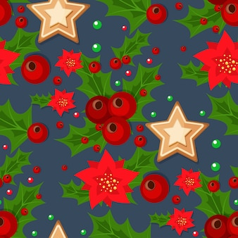 Christmas seamless pattern with spruce branches holly berries and stars  illustration winter holiday xmas wrapping paper.