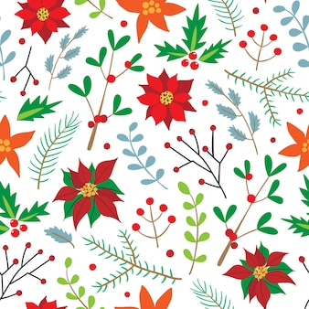 Christmas seamless pattern with spruce branches, holly, poinsettia, and berries.