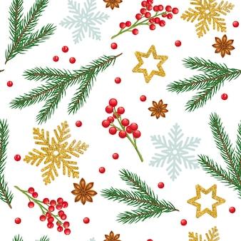 Рождественский фон с еловыми ветками, снежинками, звездчатым анисом, украшениями и праздничными красными ягодами.