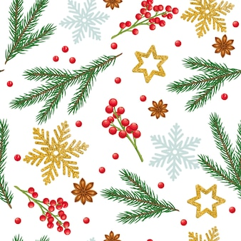 Christmas seamless pattern with spruce branches, snowflakes, star anise, decorations and festive red berries.