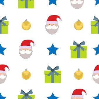 星、クリスマスボール、ギフトボックス、白い背景の上のサンタクロースとクリスマスのシームレスなパターン。ベクトルイラスト