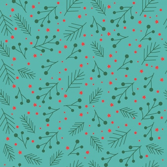 Christmas seamless pattern with stars, berries, branches.