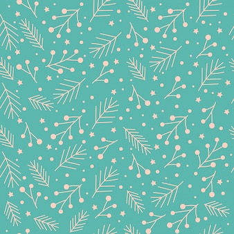 Christmas seamless pattern with stars,, branches.