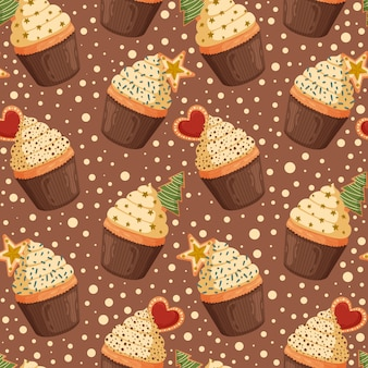 Christmas seamless pattern with sweet cupcakes.