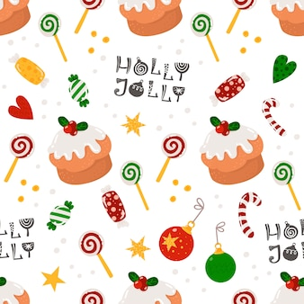 Christmas seamless pattern with sweets and cakes