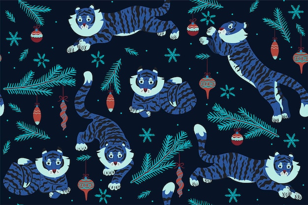 Christmas seamless pattern with tigers and christmas decorations. vector graphics.