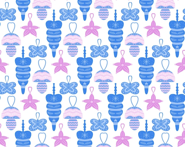 Christmas seamless pattern with toys. scandinavian style. vector illustration.