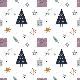 Christmas seamless pattern with tree, gifts, stars, candle. background for wrapping paper, greeting cards, clothes.