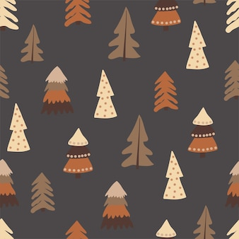 Christmas seamless pattern, with a tree, a pine tree, a festive atmosphere, a magic forest.