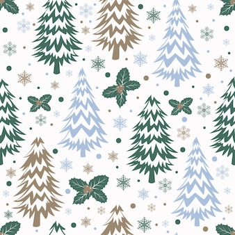 木とヒイラギの葉とクリスマスのシームレスなパターン