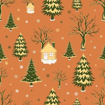 木と家とクリスマスのシームレスなパターン