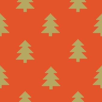 木とクリスマスのシームレスなパターンニットまたは刺繍パターンの模倣ピクセルアート