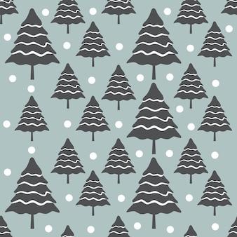 木とクリスマスのシームレスなパターン