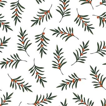 白の小枝とベリーとクリスマスのシームレスなパターン