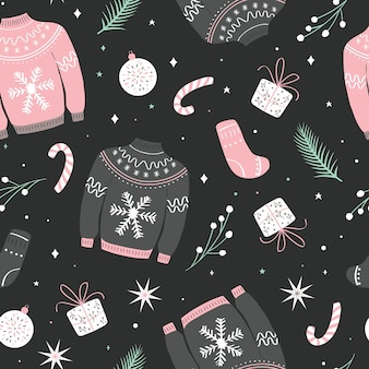 Christmas seamless pattern with ugly sweater.
