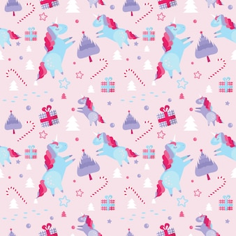 Christmas seamless pattern with unicorns