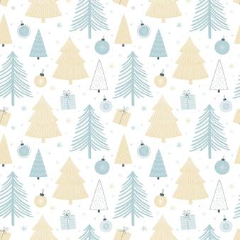다양한 나무, 크리스마스 공, 선물이 있는 크리스마스 매끄러운 패턴입니다. 파스텔 팔레트. 포장지, 직물 등을 위한 스칸디나비아 스타일 원활한 벡터 배경 ...