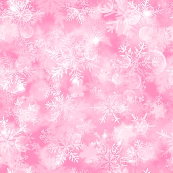 Christmas seamless pattern with white blurred snowflakes, glare and sparkles on pink background